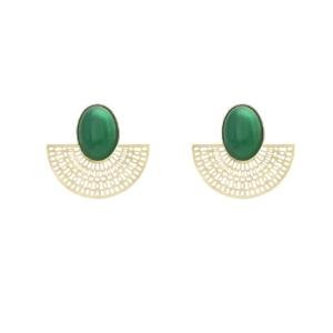 boucles d'oreilles agate verte aztèque dolita