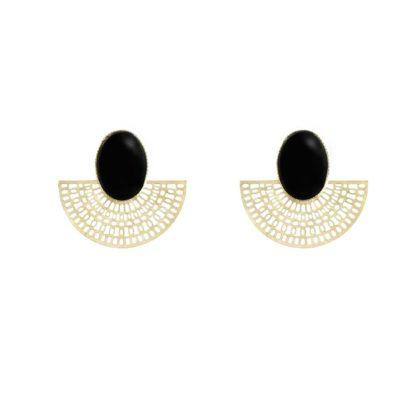 boucles d'oreilles doré et onyx aztèque dolita