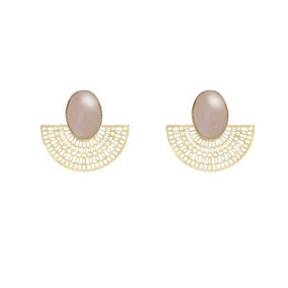 boucles d'oreilles doré quartz rose aztèque fabien ajzenberg