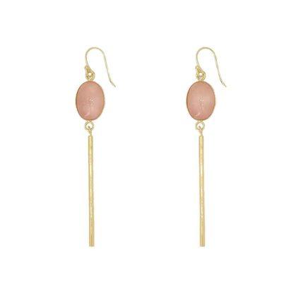 boucles d'oreilles longues barre quartz rose fabien ajzenberg dolita