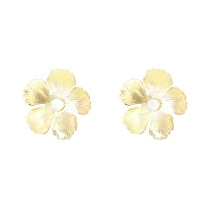 boucles d'oreilles fleurs dorées nacre fabien ajzenberg chez dolita