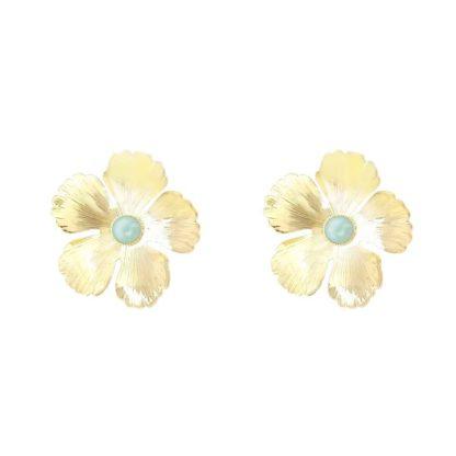 boucles d'oreilles fabien ajzenberg fleurs dorées amazonite chez dolita