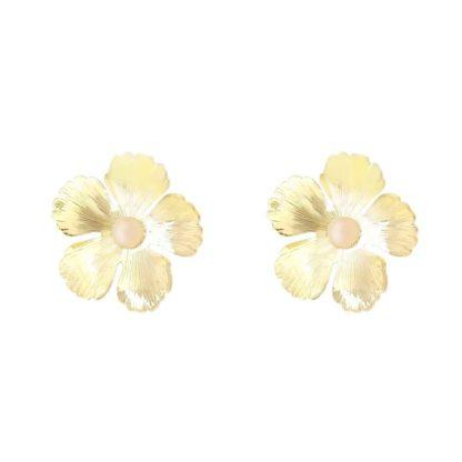 boucles d'oreilles fleurs dorées avec quartz rose fabien ajzenberg dolita