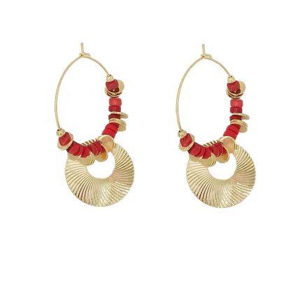 boucles d'oreilles petite madame rouge corail dolita