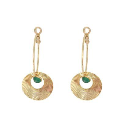 boucles d'oreilles créoles disques solaires petite madame en agate verte dolita