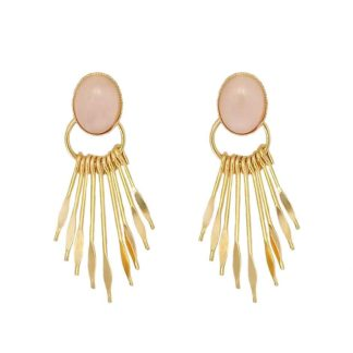 boucles d'oreilles fabien ajzenberg griffes quartz rose dolita