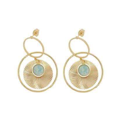 boucles d'oreilles créoles dorées et pierre amazonite petite madame