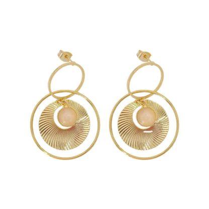boucles d'oreilles créoles dorées quartz rose kenza dolita