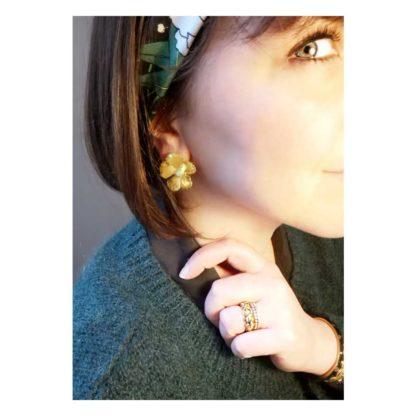 look boucles d'oreilles fleurs dorées fabien ajzenberg dolita