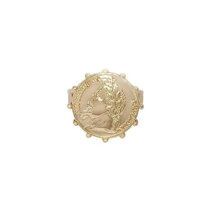 bague chevalière plaqué or pièce antique