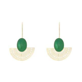 boucles d'oreilles aztèque longue agate verte dolita