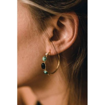 présentation boucles d'oreilles créoles onyx fabien ajzenberg