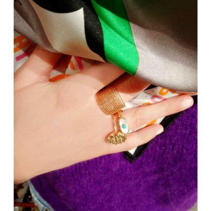 look présentation bague fantaisie en argent anis canyon chez dolita
