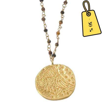 collier médaille dorée et perles