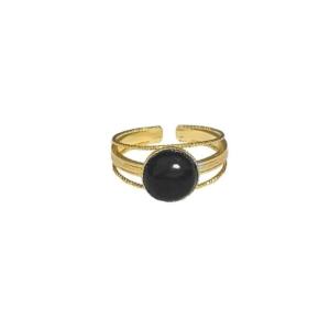 bague dorée pierre noire boa fabien ajzenberg