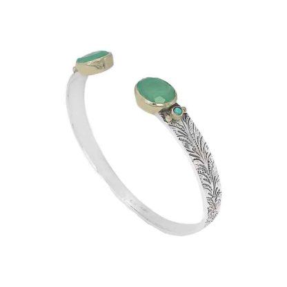 bracelet jonc argent martelé avec pierres canyon dolita