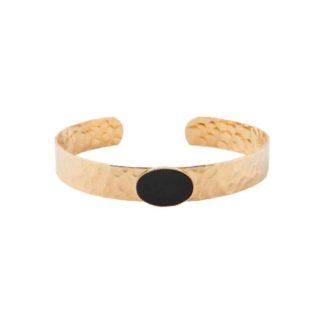 bracelet manchette laiton martelé et onyx diva eva krystal