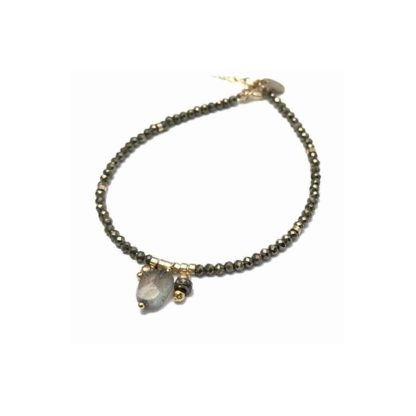 bracelet fantaisie grigri jully pyrite et labradorite chez dolita