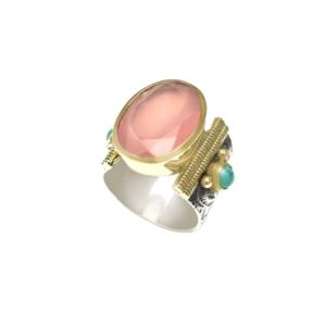 bague argent et plaqué or pierre quartz rose Canyon dolita
