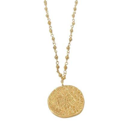 collier sautoir doré avec médaille pièce antique delphes