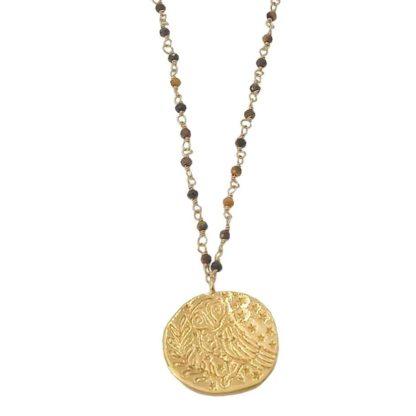 collier sautoir médaille antique oeil de tigre delphes