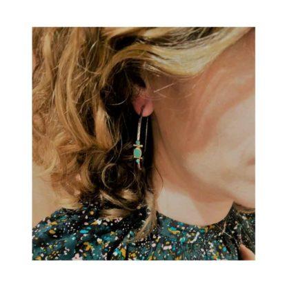 look boucles d'oreilles créoles argent et chrysoprase canyon chez dolita