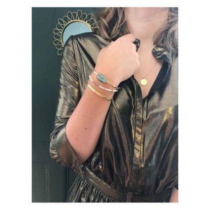 look présentation bracelet jonc bérénice labradorite l'atelier plume dolita