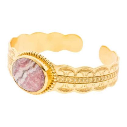 bracelet manchette faustine rhodochrosite l'atelier plume chez dolita