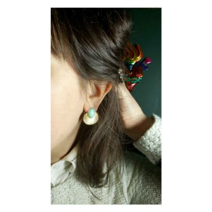 look présentation boucles d'oreilles phèdre amazonite