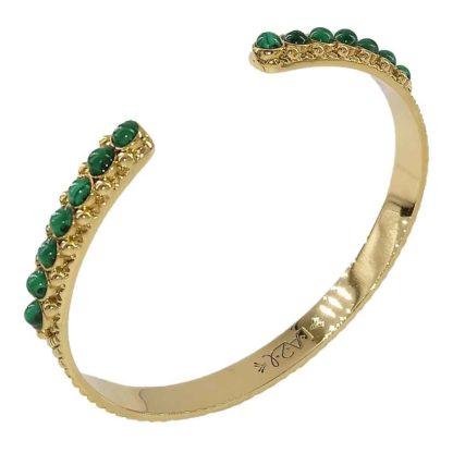bracelet manchette la2l malachite et laiton doré