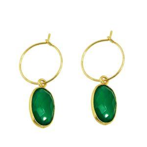 boucles d'oreilles mini créoles pendentif vert