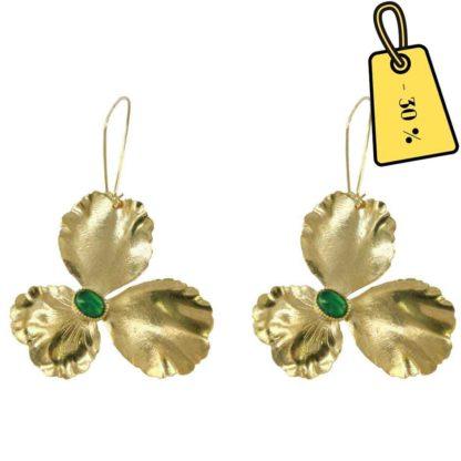 boucles d'oreilles agate verte et dorées