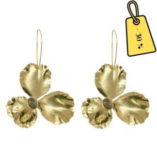 boucles d'oreilles femme dorées et pierres labradorite