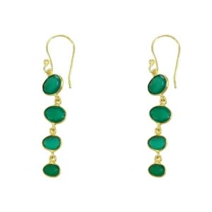 idée de cadeau les boucles d'oreilles pendantes en agate verte de la créatrice parisienne diaperis