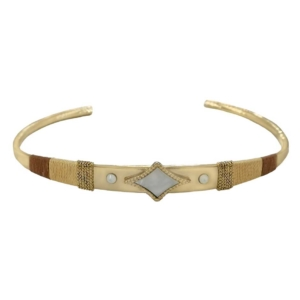 idée de cadeau femme bijoux jonc bracelet doré et nacre ethnique