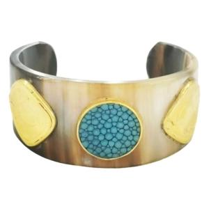 bracelet manchette en ivoire et galuchat de la créatrice de bijoux Diaperis