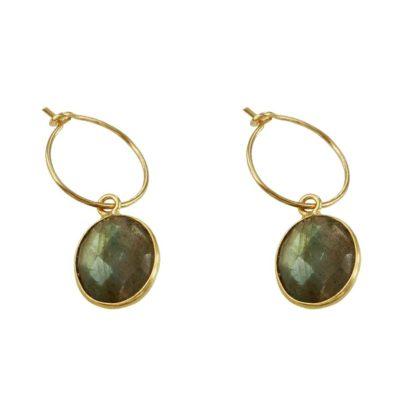 boucles d'oreilles créoles pendentif labradorite de la marque de bijoux L'Atelier Clandestin chez Dolita