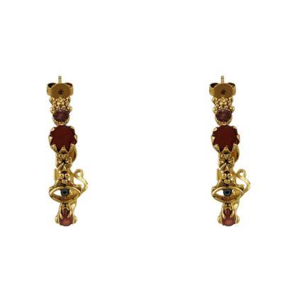 Boucles d'oreilles femme doré avec pierres naturelles de la créatrice parisienne LA2L chez Dolita