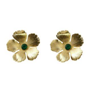 boucles d'oreilles fleurs dorées avec agate verte du créateur de bijoux français Fabien Ajzenberg