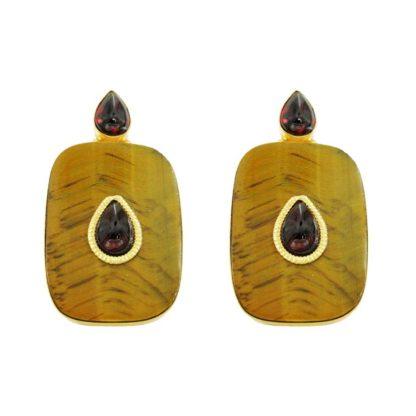 boucles d'oreilles minimalistes en oeil de tigre et grenat de la créatrice de bijoux parisienne Diaperis chez Dolita