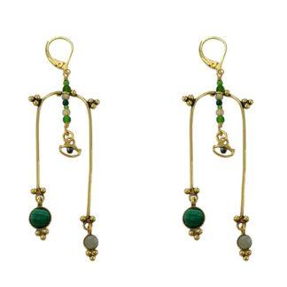 Boucles d'oreilles légères dorées avec cabochons de pierres naturelles de la marque de bijoux française LA2L