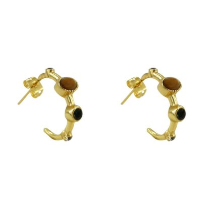 boucles d'oreilles créoles empierrées de la marque de bijoux française Diaperis