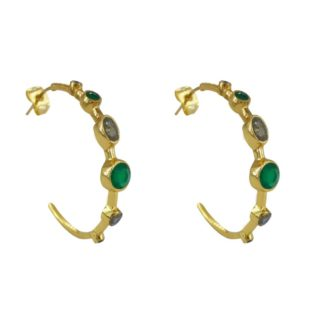 boucles d'oreilles créoles dorées avec des pierres naturelles de la marque de bijoux française Diaperis chez Dolita