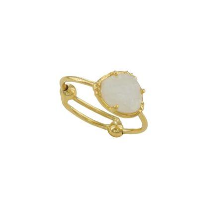 bague dorée avec pierre de lune de la marque de bijoux française Au fil de LO chez Dolita