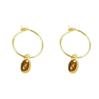 boucles d'oreilles créoles avec oeil de tigre de la marque de bijoux L'Atelier clandestin marque française