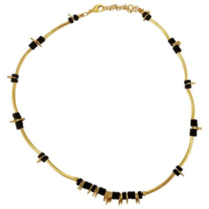 collier choker ras du cou en laiton doré et perles en onyx de la créatrice bijoux Petite Madame