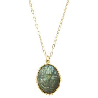 collier scarabée en pierre naturelle labradorite de la créatrice bijoux au fil de lo chez dolita