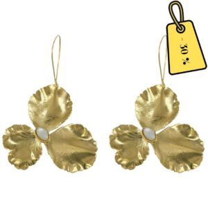 boucles d'oreilles fleurs dorées et pierres naturelles