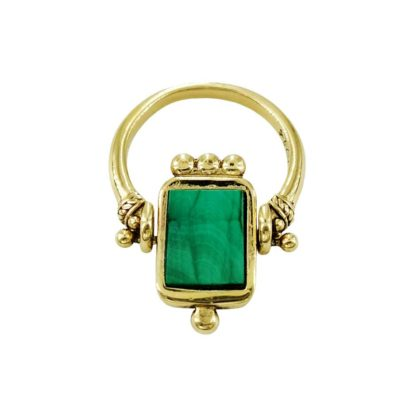 bague laiton doré malachite la2l bijoux made in france