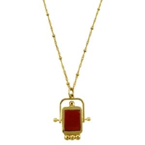 collier de la créatrice de bijoux LA2L en pierre naturelle jaspe rouge chez Dolita